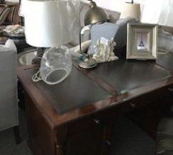 Executive desk, leather top desk