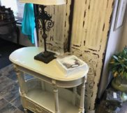 Creme color oval side table!