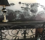Iron entry table... narrow and long! LOVE!
