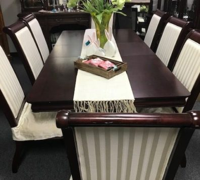 Espresso pedestal table with 8 chairs