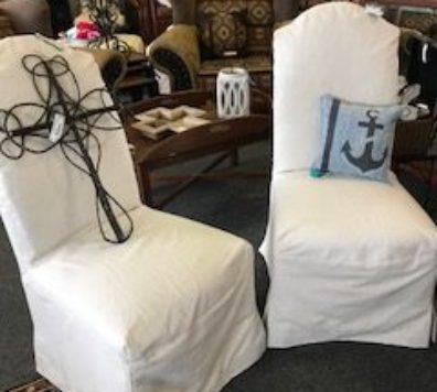 2 slip covered parsons chairs!