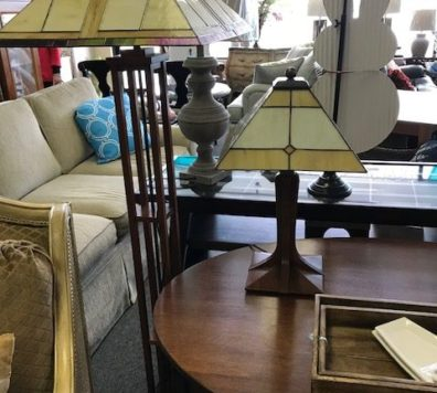 Mission style glass lamp - we have a pair