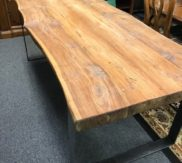 Wood slap dining table - metal legs! AMAZING!