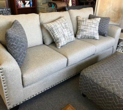 New Linen sofas with nail head trim! Run!