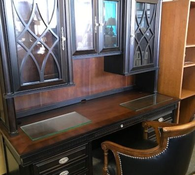 black and wood Desk with hutch! Beautiful!