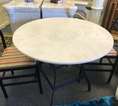 Iron and marble top bistro table! LOVE!
