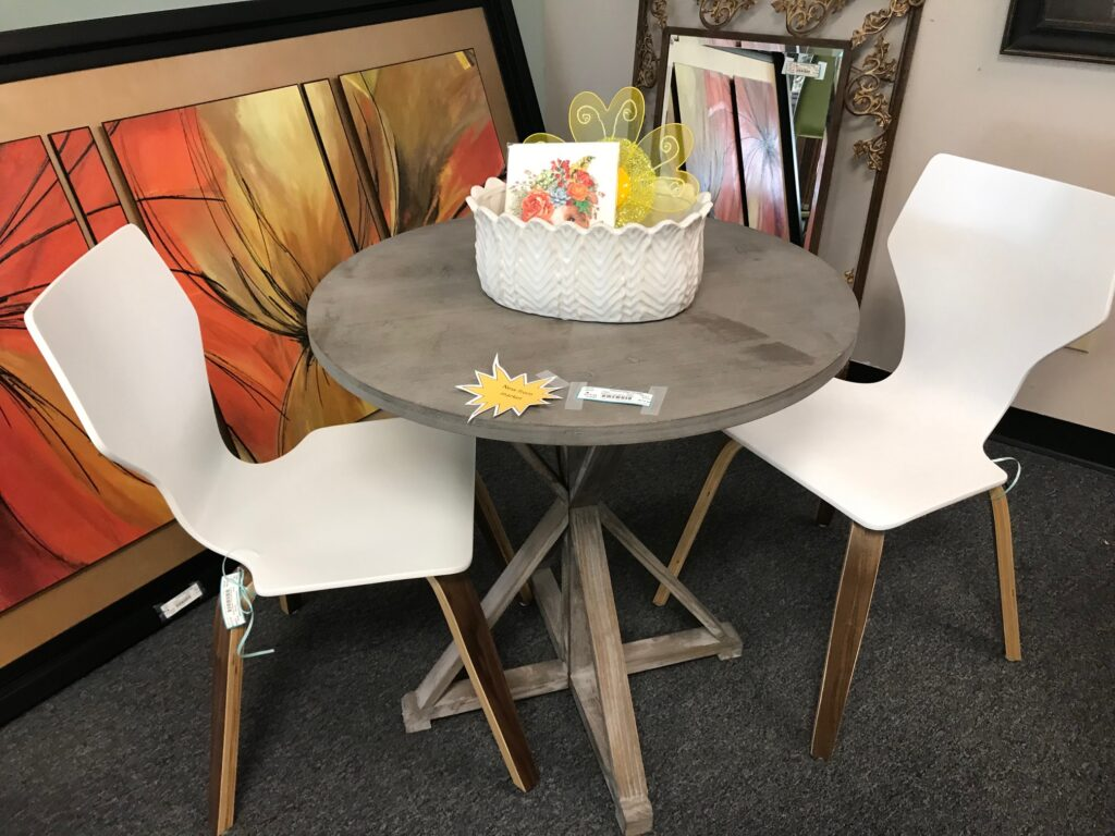 grey farmhouse side table or bistro