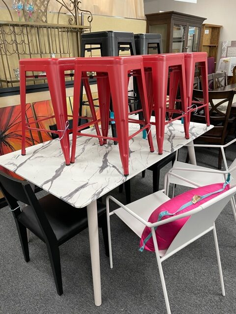 Red and black metal stools