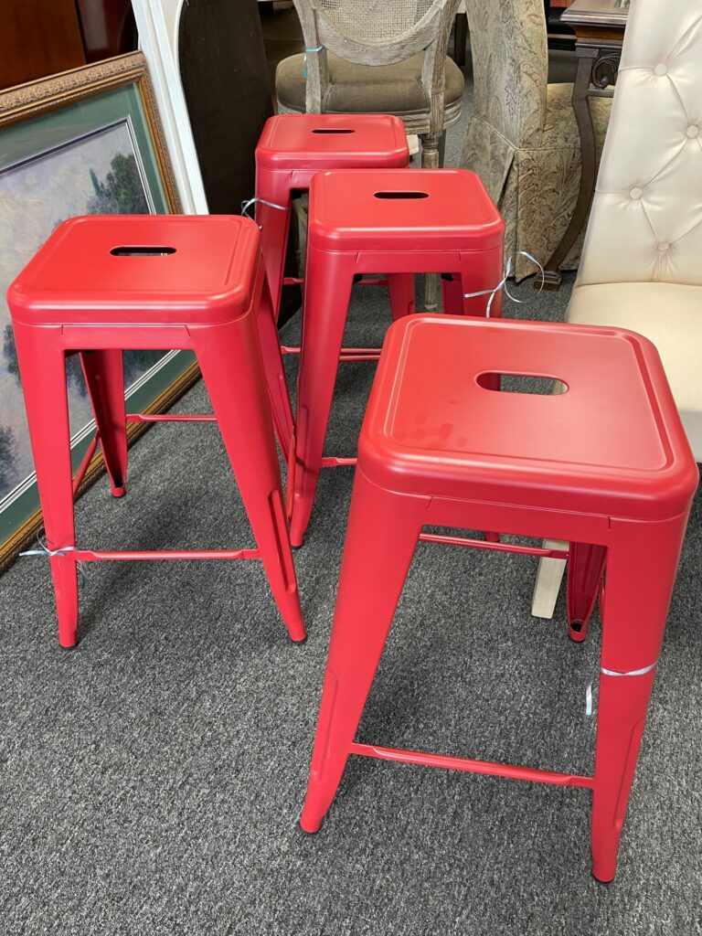 Red metal counter stools